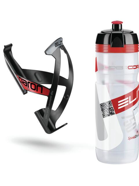 Elite Kit Supercorsa/Paron Trinkflasche & Halter 750 ml clear-rot/schwarz-rot